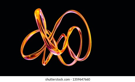 Yellow glossy gold-like metal shape twisted by special way isolated on black, trendy design element for your creative projects, high resolution 3D render