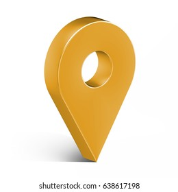 Yellow glossy map pin with shadow. concept of tagging, center, landmark badge, tip, trip, needle, route build, locate. Isolated on white background. 3D illustration, 3D rendering