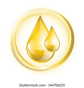 Yellow glossy oil droplets