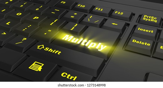 yellow glowing Multiply key on black computer keyboard, 3d illustration
