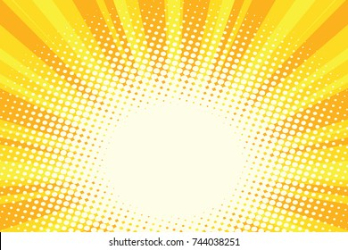Yellow gold cartoon sunrise pop art background