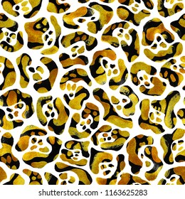 Yellow gold leopard pattern. Hand painted raster illustration isolated on white