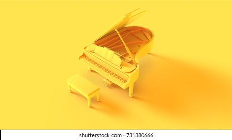 Yellow Grand Piano / 3d illustration
