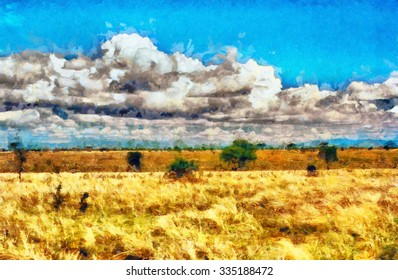 Yellow grassland savannah oil painting