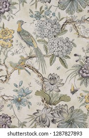 Yellow and gray textile and digital print design for curtains