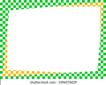 yellow green chess background, border frame in colors of brazilian flag, before independence day of brazil