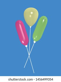 yellow, green and pink air balloon with blue background. 3d rendering