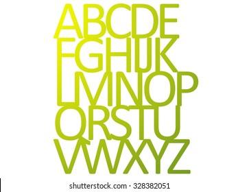 yellow green silhouette alphabet ABCDEFGHIJKLMNOPQRSTUVWXYZ