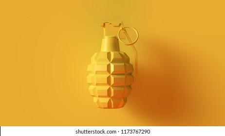Yellow Grenade Concept 3d illustration 3d render