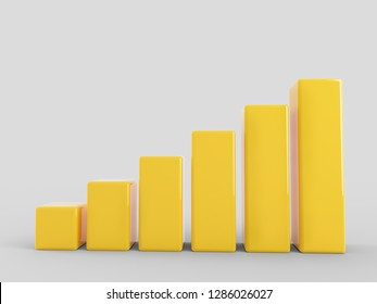 Yellow growing bar chart - 3D Rendering