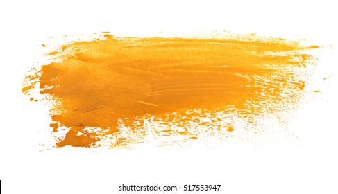 yellow grunge brush strokes oil paint isolated on white background