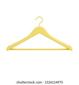 Yellow сlothes hanger isolated on white background. Business fashion concept. Minimal design art. 3d illustration.