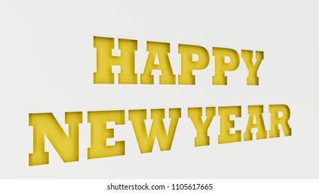 Yellow Happy New Year words cut in white paper. 3D rendering illustration
