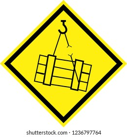 Yellow hazard sign with suspended loads symbol