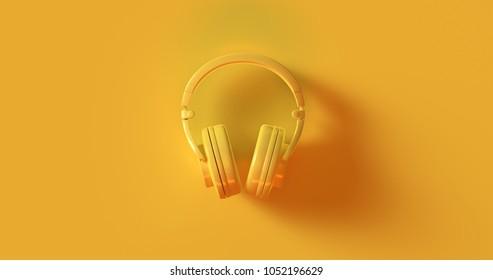 Yellow Headphones 3d illustration 3d rendering