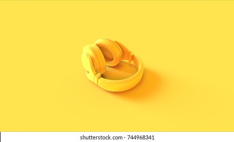Yellow Headphones / 3D illustration / 3D rendering