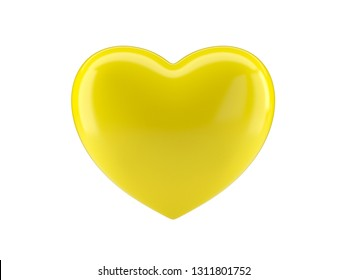 Yellow heart icon on white isolated background. 3d rendering