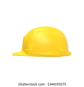 Yellow Helmet on isolated White Background 3D Rendering