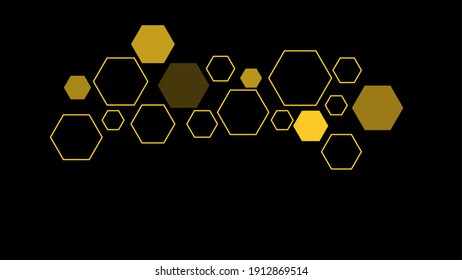 Yellow Hexagon on dark Background illustration