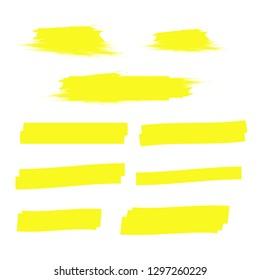 Yellow highlight marker lines. Highlighter strokes . Marker marks