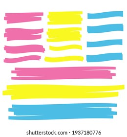 yellow highlighter brush lines. Brush pen underline. Yellow watercolor hand drawn highlight