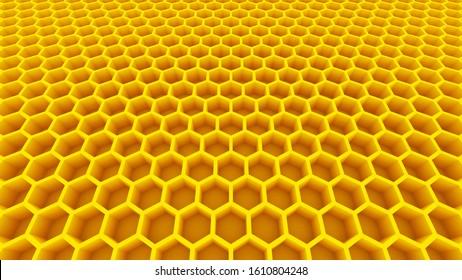 yellow honeycomb honey cells beehive 3D illustration