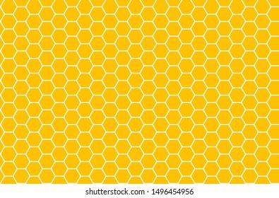 Yellow honeycomb honey seamless pattern hexagons of geometric shapes mosaic background