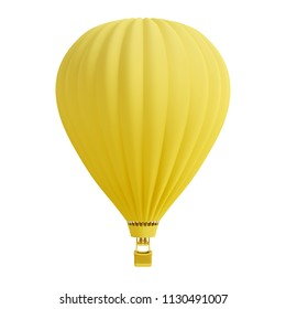 Yellow hot air balloon isolated on white background. Trendy fashion style. Minimal design art. 3d illustration.