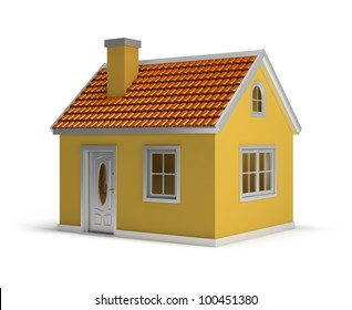 yellow house. 3d image. Isolated white background.