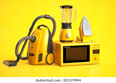 Yellow household appliances on yellow background. Set of home  technics. 3d illustration