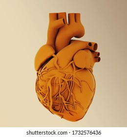 Yellow human heart. 3d illustration. On toned background