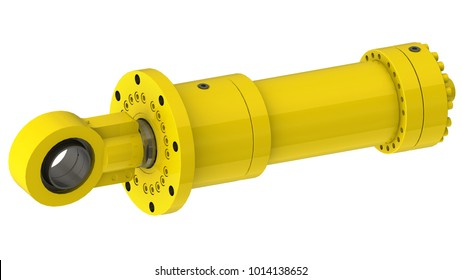 Yellow hydraulic cylinder high pressure, 3D rendering