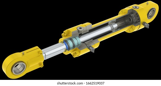 Yellow hydraulic cylinder high pressure with thread connection, white background, 3D rendering