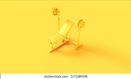 Yellow Incline Weight Bench 3d illustration 3d rendering