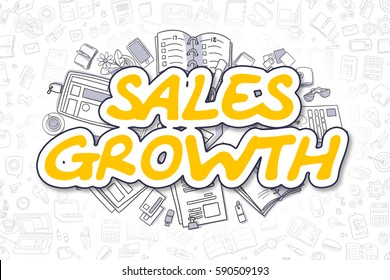 Yellow Inscription - Sales Growth. Business Concept with Doodle Icons. Sales Growth - Hand Drawn Illustration for Web Banners and Printed Materials.