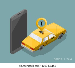 Yellow isometric taxi cab banner. Online mobile application order taxi service illustration. Flat car isometric quality banner. 3D taxi vehicle smartphone. Get a taxi online phone isometry application