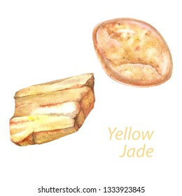 Yellow Jade watercolor gems. Solar plexus chakra stones and healing crystals. Hand drawn illustration of gemstones isolated on white background