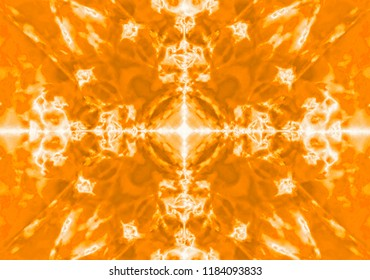 Yellow kaleidoscope textured pattern background