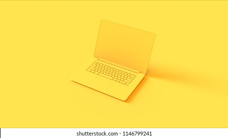 Yellow Laptop 3d illustration