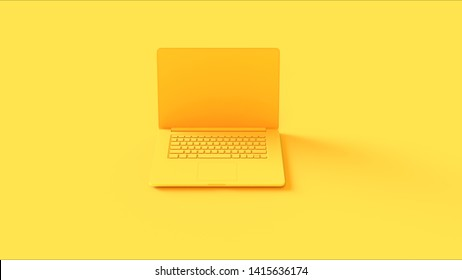 Yellow Laptop 3d illustration 3d render