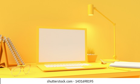 Yellow laptop mock-up on Work desk with yellow background. minimal idea concept, 3d render.
