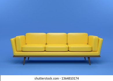 yellow Leather sofa design in blue background, 3D rendering illustration.