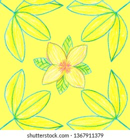 yellow leaves flowers pattern darwing pencil sketch