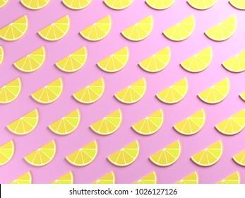 Yellow lemons on pink background