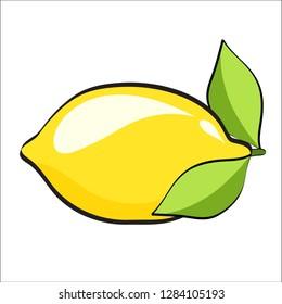 yellow lemons in pop art retro comic style. Fresh lemon fruits, illustrations