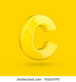 Yellow letter C uppercase. 3D render of glossy font with glint isolated on yellow background.