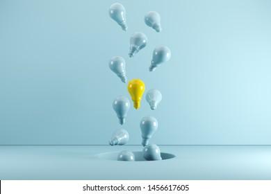 A Yellow Light bulb Floating among blue light bulbs from hole. Idea concept Creative. 3D render