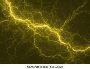 Yellow lightning strike, electrical background