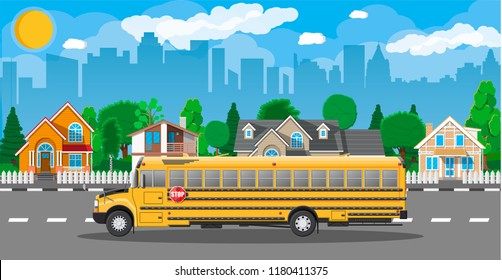 Yellow long classic school bus in city. Kids riding schoolbus transportation. Cityscape, road, buildings, tree, sky and sun. illustration in flat style
