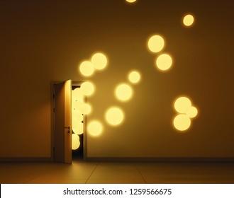 Yellow luminescent balloons fly away through open door in a dark room. 3D render
